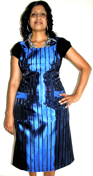 Classic Club Pinafore Apron Blue with Black Stripes
