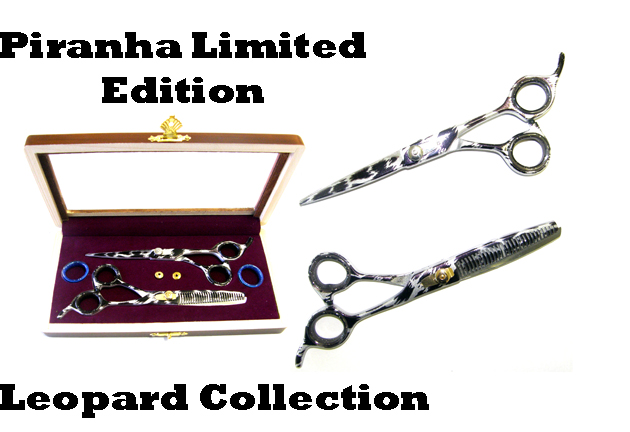 "Piranha Limited Edition Leopard Collection-5.5"" Cutting Scissor plus 5.5"" Thinning Scissor in a Case"