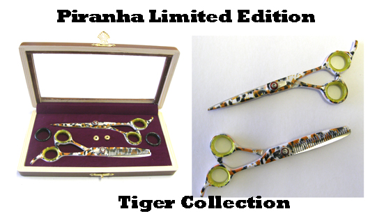 "Piranha Limited Edition Tiger Collection-5.5"" Cutting Scissor plus 5.5"" Thinning Scissor in a Case"