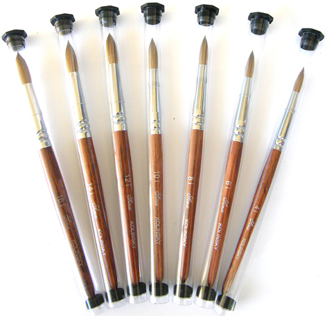 Ha-Sina Pure Kolinsky Superior Round Sable Brush-Wooden Handle and Aluminium Ferrule-Size #4