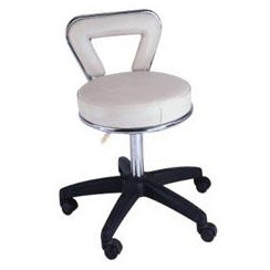 Chrome Rimmed Beauty Stool with Back Rest-White