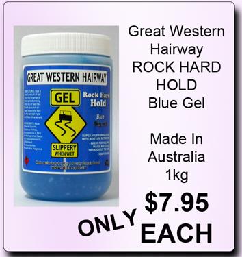 Great Western Hairway Rock Hard Hold Hair Gel-Blue-1Kg