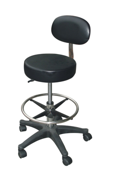 98045B-The Rachel-A Superior Quality Salon Gas Lift Stool-Round Seat, Back Rest, Ring Foot Rest