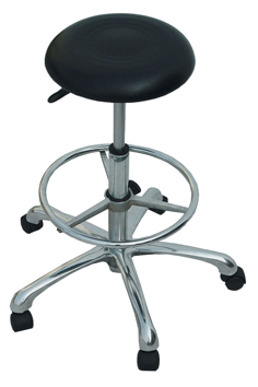C3328D-The Marisse-A Superior Quality Salon Gas Lift Stool-Round Seat with Ring Foot Rest-Black Upholstery