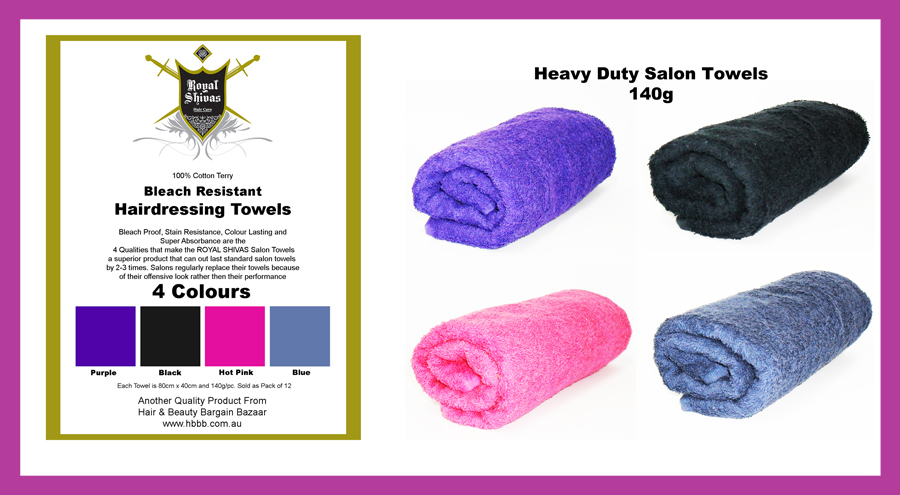 Royal Shivas Bleach Resistant Hairdressing Towels made from 100% Cotton Terry , Bleach Proof, Stain Resistant, Colour Fast and Super Absorbant Dimensions 80cmx40cm 140g/pc-Sold as Pack of 12 Towels-Purple