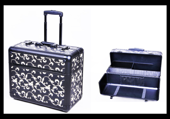 Precious Black/White Decorated Beauty Case with Wheels and handle