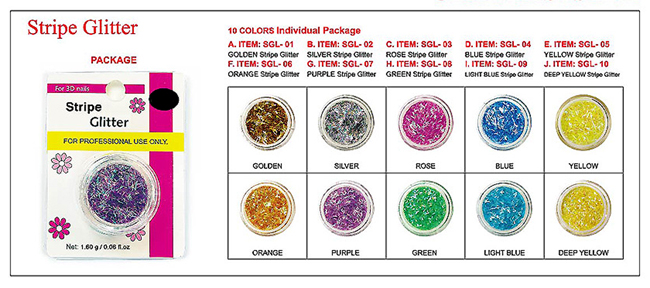 SGL-03-Nail Art Glitter Stripes for 3D Nail Art-10 colours individually packed-Rose/Magenta