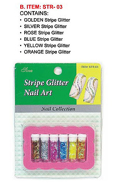 STR-03-Nail Art Glitter Stripe Kit-Contains Gold, Silver, Rose/Magenta, Blue, Yellow, Orange Stripes