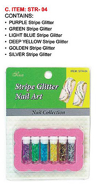 STR-04-Nail Art Glitter Stripe Kit-Contains Purple, Green, Light Blue, Deep Yellow, Gold and Silver Stripes