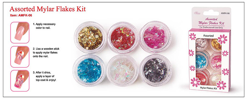 AMFK-06-Nail Art Mylar Flakes Kit-Contains Gold, Silver, Blue, Clear, Pink and Orange