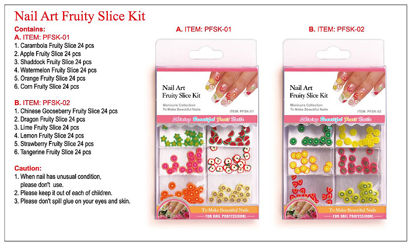 PFSK-02-Nail Art Fruity Slice Kit-144 pcs-Chinese Gooseberry, Dragon Fruit, Lime, Lemon, Strawberry, Tangerine