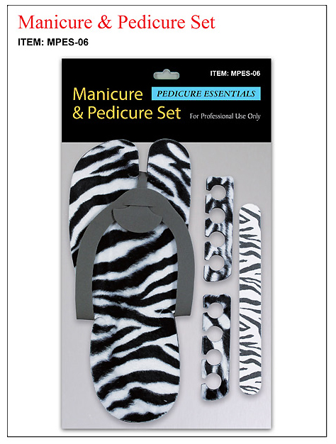 MPES-06-Pedicure and Manicure Kit-Slippers, Toe Separators, Nail Buffer-Zebra Print
