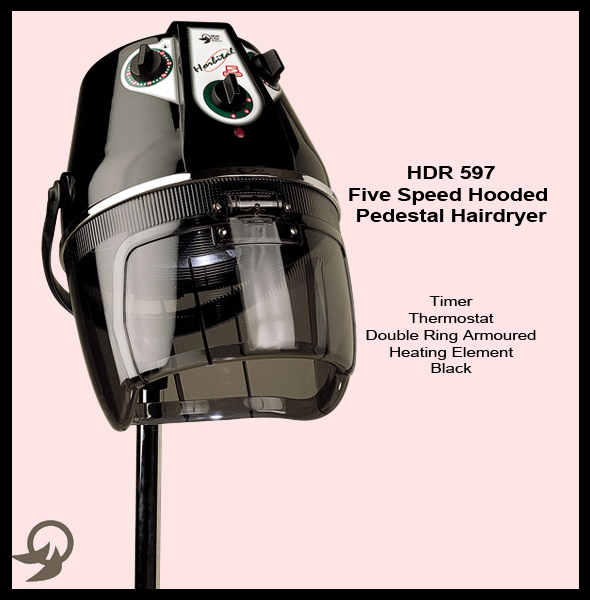"Italian Made ""Horbital"" 5 Speed Hooded Pedestal Hair Dryer with Timer, Thermostat and Double ring Armoured Heating Element"