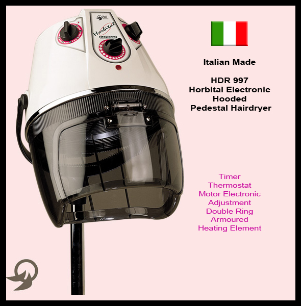 "Italian Made ""Horbital"" Electronic Hooded Pedestal Hair Dryer with Timer, Motor Electronic Adjustment, Thermostat and Double Ring Armoured Heating Element-available in black colour only"