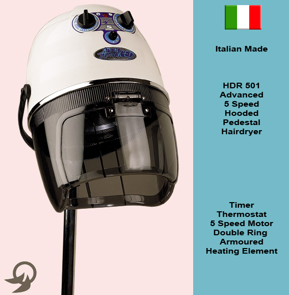 "Italian Made ""Advanced"" 5 Speed Hooded Pedestal Hair Dryer with Timer, Thermostat, 5 Speed Motor and Double ring Armoured Heating Element-available in Black Only"