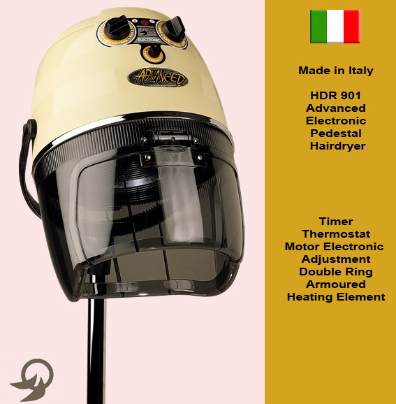 "Italian Made ""Advanced"" Electronic Hooded Pedestal Hair Dryer with Timer, Motor Electronic Adjustment, Thermostat and Double Ring Armoured Heating Element-available in black colour only"