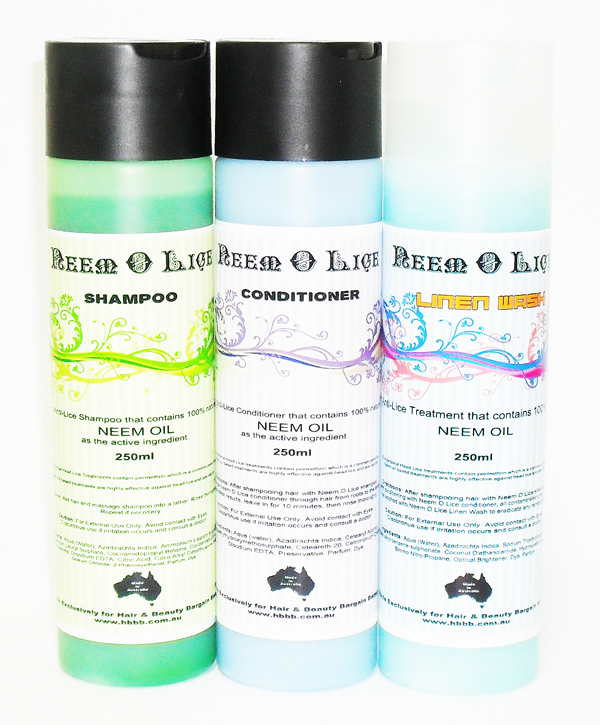 Neem-O-Lice Shampoo 250ml x1 plus Conditioner 250ml x1 plus Linen Wash 250 ml x1 Combo Pack