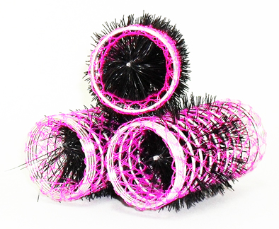 Pink Swiss Hair Rollers-Length-80mm Diameter-35mm-12 per pack