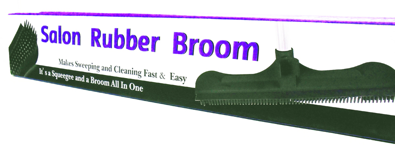 Salon Rubber Broom with Handle-Makes sweeping and cl;eaning fast & easy. Its a squeegee and a brom all in one