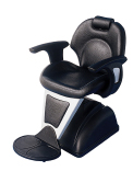 "38012B-""The Diva"" Barber Chair-Deluxe barbers chair with body in polyurethane foam. Hydraulic Pump and Polyurethane Foot Rest. Vinyl and Polyurethane arms. The back has a reclining function"