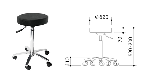 "A3328-""Malia""-A superior Quality Salon Gas Lift Stool with Aluminium Star Base-Full Black Upholstery Only"