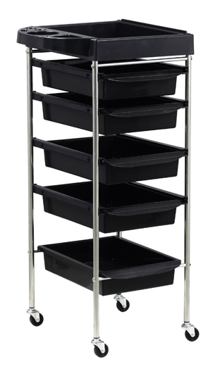 """The Sahara""-6 Tier Professional Salon Trolley with Black Trays in high quality ABS Plastic and S/S frame and organiser top tray"