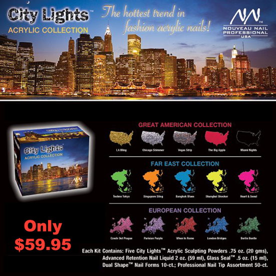 Nouveau Nail City Of Lights Acrylic Collection Kit-contains 5x City Lights Sculpturing Powders 20g, Advanced Retention Nail Liquid 2 Oz, Glass Seal 0.5 Oz, Dual Shape Nail Forms 10ct, Professional Nail Tip assortment 50ct (Far East Collection)